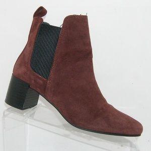 Zara Basic burgundy suede elastic booties 7.5 38